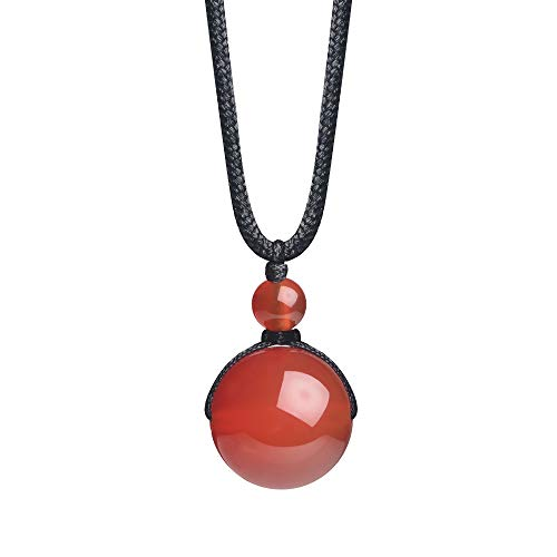 - iSTONE Unisex Genuine Round Gemstone Beads Pendant Necklace with Adjustable Nylon Cord 25 Inch (Red Agate)