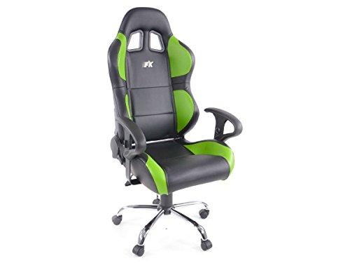 Racing Seat - Silla de oficina gaming Phoenix con reposabrazos cuero sintetico negro/verde