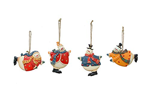 ACCENTHOME Christmas Tree Resin Snowman Ornament Christmas Holiday Decoration Hanging Ornaments Set of 4