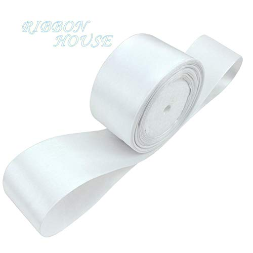 (25 Yards/roll) 2'' 50mm White Single face Satin Ribbon Webbing Decoration Gift Christmas Ribbons