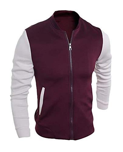 Full color Uomo Colours Jacket Classiche xsmall Home Men Slim Size Wine Us Zip Red Da Red Giacche SXvqxw8
