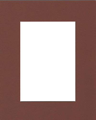 (Pack of (5) 11x14 Acid Free White Core Picture Mats Cut for 8x10 Pictures in Brown, with Acid Free 1/8