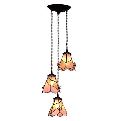 Tiffany Style Vertical Chandeliers 3 Lights, Three-Dimensional Petals Glass Ceiling Light Pendant, Modern Hanging Lamp for Living Room, 220V, E273 ()