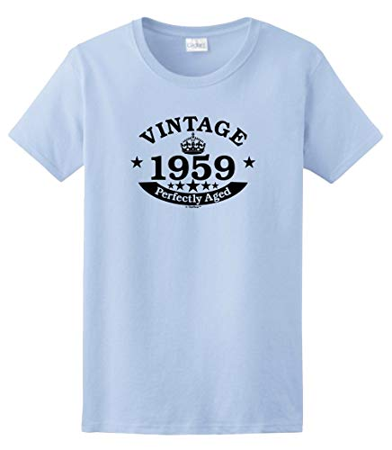 60th Birthday Gifts for Mom 60th Birthday Gift Vintage 1959 Perfect Aged Crown Ladies TShirt Small Light Blue