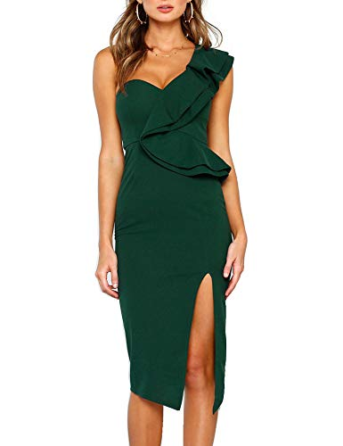 Murimia Womens Dresses Summer Off The Shoulder Side Slit Ruffle Bodycon Midi Dress - Bodycon Dress Shoulder