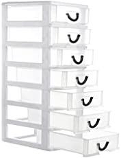 Rempry Small Organizer Box Storage Container Case with 7 Clear Desktop Drawer Units,White (7.1X5.1X13.2 inches ) photo