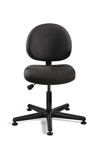 Bevco Lexington, Desk Height Black Fabric Chair, Black Nylon Base, Mushroom Glides