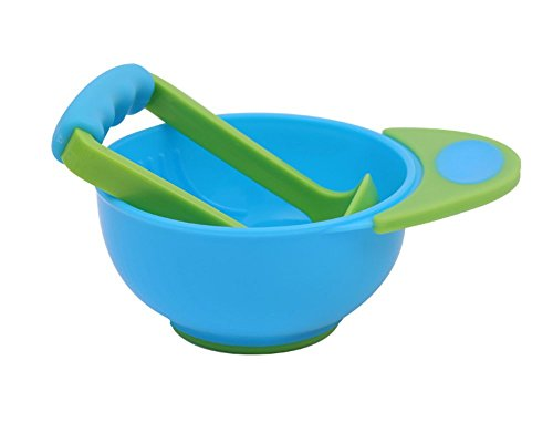 LLZJ Babies Tableware Dishes Suction Bowls Suction Stay Put Anti-Fall Training Children's Cutlery Toddler Feeding Training 3 Pieces,Blue -