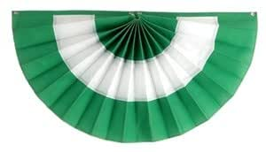 "Independence Bunting & Flag - 18"" x 36"" 3 Stripe St. Patrick's Day Cotton Pleated Fan - Green/White/Green"