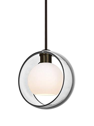 Besa Lighting 1TT-MANACL-BR Mana - One Light Stem Pendant with Flat Canopy, Bronze Finish with Clear/Opal Glass (1 Light Pendant Br Stem)