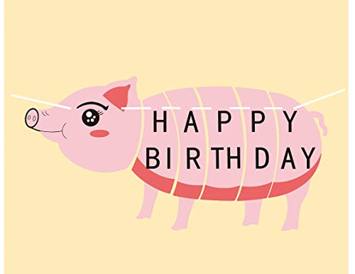 E&L Pig Pal Party Themed Decorations Kit, Pig Birthday Party Supplies, Birthday Party Banner, Set of 6 Pieces Pig Flags