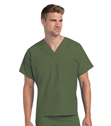 Landau Premium Uniform Reversible One Pocket V-Neck Scrub Top, Olive, X-Large
