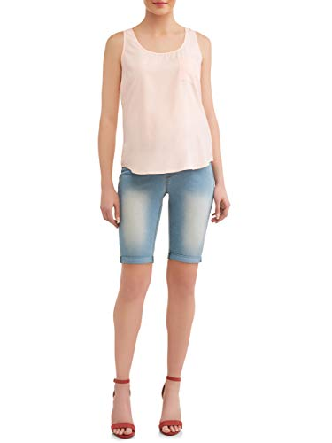 (Sass & Sassy Women's Plus Size Pull On Comfort Denim Bermuda Shorts (1X, Power Wash))