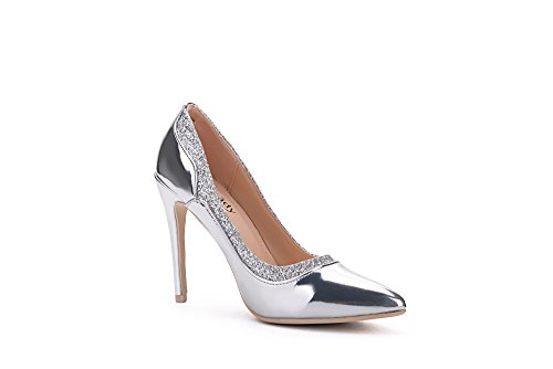 Shoes Silver Embellished Lady Sparkles Heeled Mila Lady Platform Toe Celeste Point vqzqaH