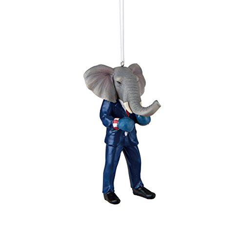 Resin Elephant Boxing Ornament 4.5