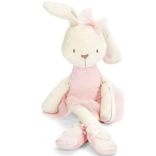 Delicate Soft Plush Ballerina Bunny Doll With A Pink Dress And