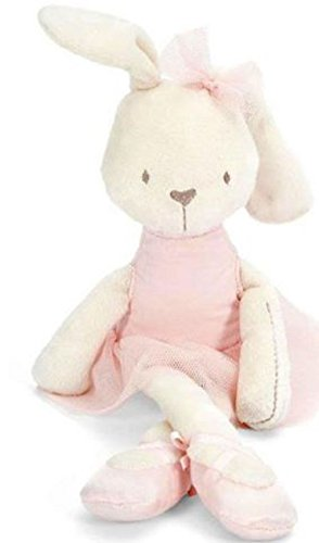 Soft Plush Ballerina Bunny Doll With a Pink Dress and Ballerina Slippers (Doll Pink Dress)
