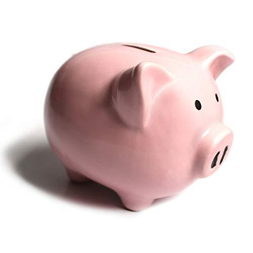 KNRAGHO Pink Piggy Bank,Ceramic Money Piggy Bank Kids with Peppa Pig Sticker ()