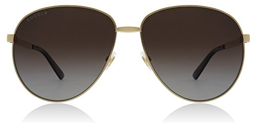 Gucci GG0138S - 005 Gold/Brown Pilot Sunglasses Polarised ()