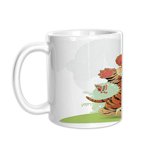 Cartoon Decor Stylish White Printed Mug,Little Cub Playing with Butterflies in the Meadow Joyful Lively Baby Tiger Cat for Living Room Bedroom,3.1