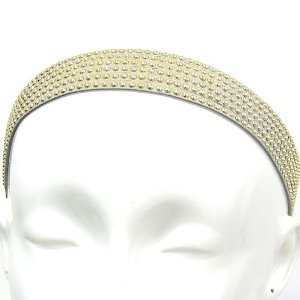 Fashion Jewelry ~ Gold Beige Studs Stretch Head Band (Style Hair 009h 16)