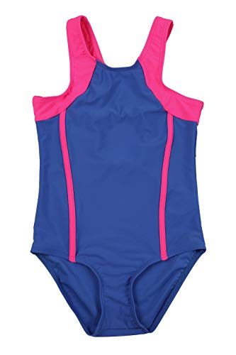 V FOR CITY Girl Professional Competitive Racerback Swimsuit One Piece Athletic Bathing Suit Blue 6
