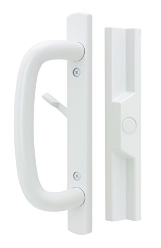 Veranda Sliding Glass Door Handle Set with Mortise Lock, White, Non-Keyed, 3-15/16