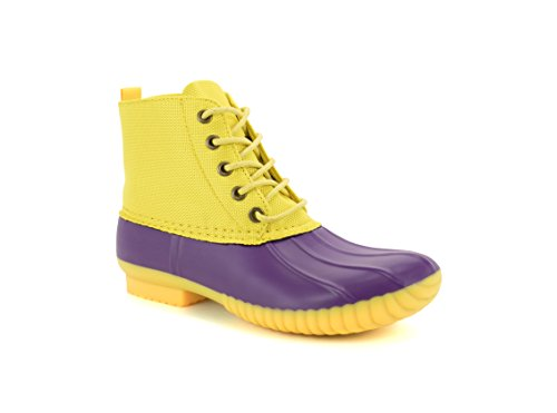 Avanti Cruze Womens Duck Boots - Waterproof Rainboots Purple and Yellow