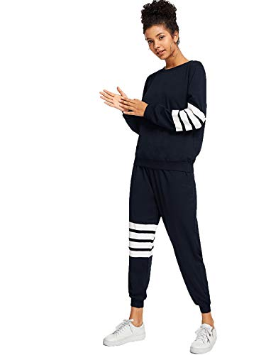 Romwe Women's Fall Striped Sweatshirt Top with Pants 2 Pieces Outfit Navy L