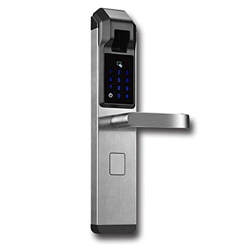 BELUPAID Smart Digit Electronic Fingerprint Door Lock, Peek-Proof keyless Entry Smart Anti-Theft Lock Touchscreen Keypad Code Lock Swipe Card Fingerprint Anti-Theft Door Lock (Silvery)