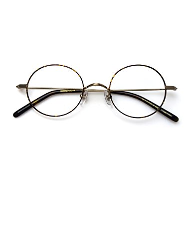 Komehachi - Cute Women Slim Ultra-Light Round Circle Vintage Old School HP Clear Lens RX Ready Eyeglasses Frames - Old Eyeglasses School