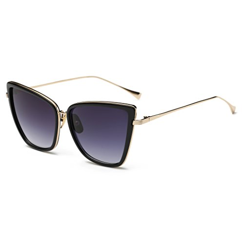 COASION Oversized Cat Eye Sunglasses for Women Retro Fashion Metal Frame (Black/Purple, - Sunglasses Large Cateye