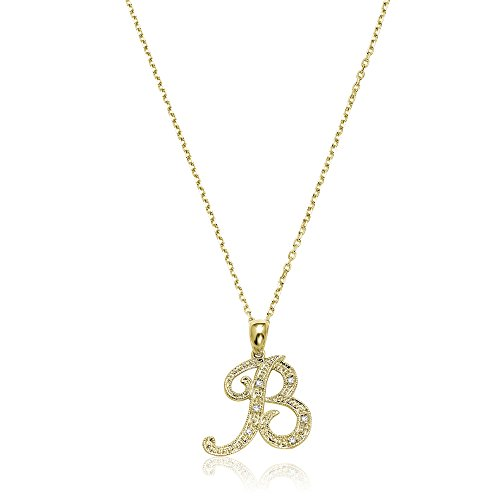 Yellow Gold Diamond Cable - Jewels By Erika Script B-Y 14K Gold and Diamond Initial Pendant - Yellow Gold