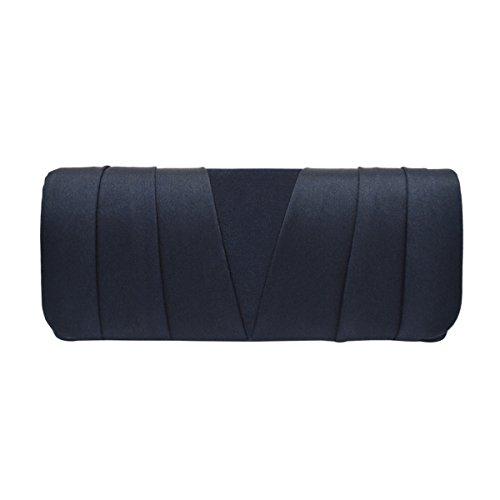 Elegant Classic Satin Pleated Satin Flap Clutch Evening Bag Handbag, Navy