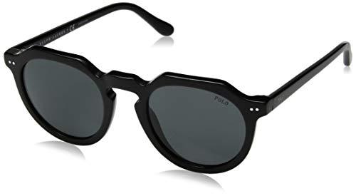 (Polo Ralph Lauren Men's 0ph4138 Round Sunglasses, shiny black, 49.0 mm)