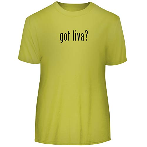 - One Legging it Around got Liva? - Men's Funny Soft Adult Tee T-Shirt, Yellow, Medium