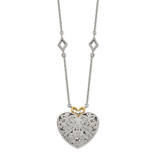 925 Sterling Silver 14k Diamond Vintage Heart Chain Necklace Pendant Charm S/love Fine Jewelry Gifts For Women For Her