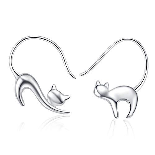 LUHE Cat Dangle Earrings 925 Sterling Silver Pull Through Animal Cat Hoop Earrings for Women.Girls (Cat Earrings 1)