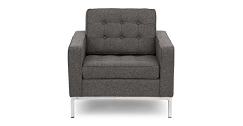 Kardiel Florence Knoll Style Arm Chair, Cadet Grey Tweed Cashmere Wool