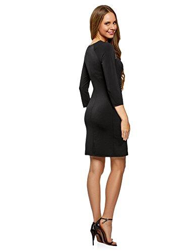 2900n Silueta Decorativas de Vestido Negro Ajustada Mujer oodji Cremalleras Collection con AfI1v