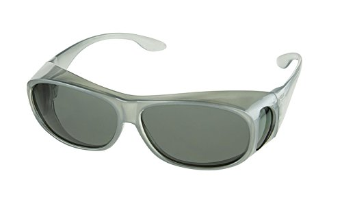 LensCovers Wear Over Sunglasses Size Medium Silver Frames with Smoke Lens - Fit Over ()