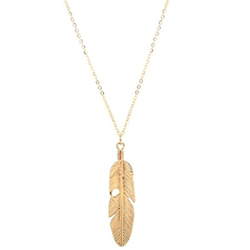 UNKE Feather Women Pendant Long Chain Necklace Sweater Statement Vintage Jewelry