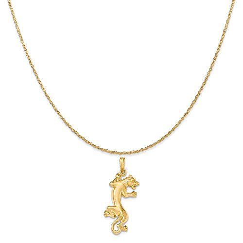 14k Yellow Gold Polished Panther Pendant on a 14K Yellow Gold Carded Rope Chain Necklace, 20