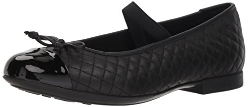 Geox Girls' Plie 49 Quilted Leather Slip-On Ballet Flat Mary Jane, Black, 26 Medium EU Toddler (9 US) - Geox Leather Mary Janes