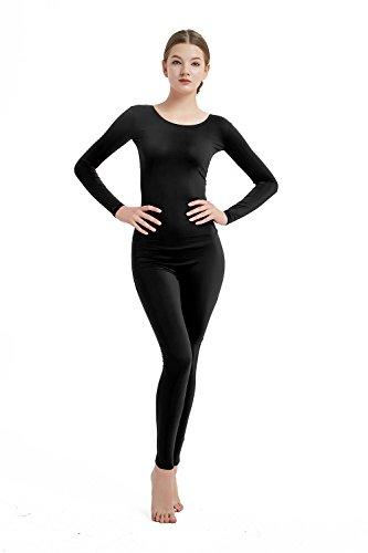 Full Bodysuit Womens Long Sleeve Bodysuit One Piece Jumpsuit Lycra Spandex Stretch Zentai Unitard (Medium, Black) -
