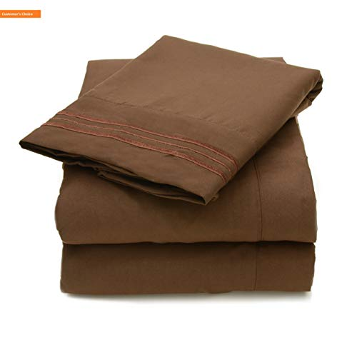 Mikash New Soft 4 Piece 2000 12 Colors Collection Egyptian Quality Deep Pocket Bed Sheet Set King Brown | Style 84601361