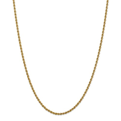Roy Rose Jewelry 14K Yellow Gold 2.5mm Handmade Regular Rope Chain Necklace ~ Length 16'' inches - 16' Regular Rope Chain
