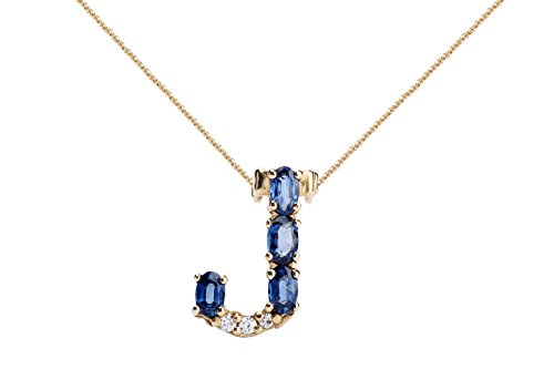 Albert Hern Blue Sapphire Necklace with Diamonds & 18K Gold Chain | Irresistible Sapphire Letter J Pendant Jewelry | Perfect Valentine's Day, Anniversary & Birthday Gift