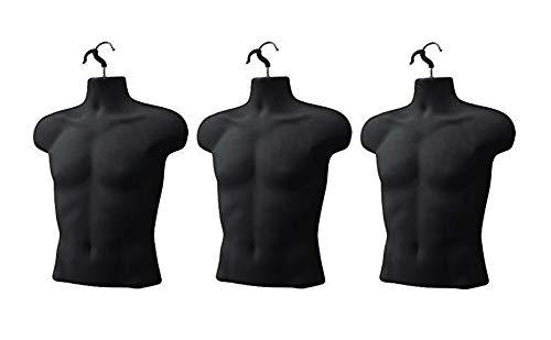 Upper Male Torso Form, Black - Pack of 3