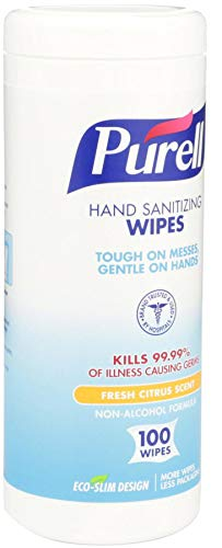 PURELL Hand Sanitizing Wipes, Fresh Citrus Scent, 100 Count Non-Linting Wipes Eco Slim Wipes Canisters (Case of 12) - 9111-12 by Purell (Image #6)